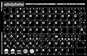Klaviatuurikleebis laua eesti must taust/valge sümbol -
